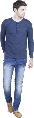 LLO Fashions Solid Men,s Henley Blue T-Shirt