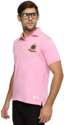Derby Jeans Community Solid Men's Polo Neck Pink T-Shirt
