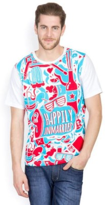 Happily Unmarried Printed Men's Round Neck T-Shirt