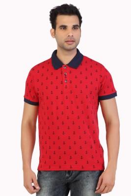 Free Spirit Printed Men's Polo Red T-Shirt