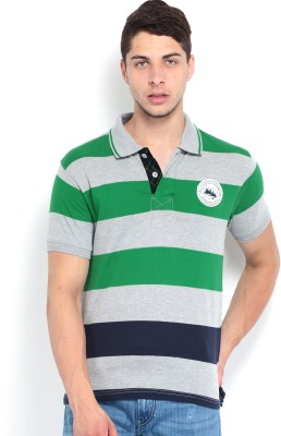 Roadster Striped Men's Polo Neck Grey T-Shirt