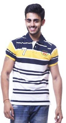 Unicott Striped Men's Polo Yellow, White T-Shirt