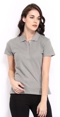 HRX Solid Women's Grey T-Shirt