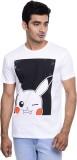 Pokemon Printed Men's Round Neck White T...