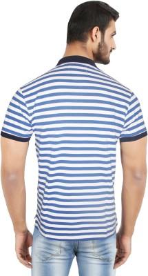 Hoodz Striped Men's Polo Neck Blue T-Shirt