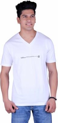 Vivid Bharti Printed Men's V-neck White T-Shirt