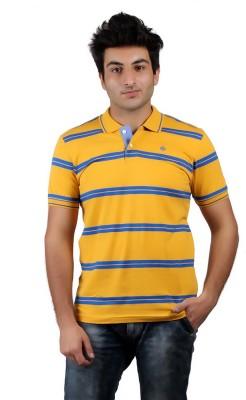 Numero Uno Striped Men's Polo Neck Yellow, Blue T-Shirt