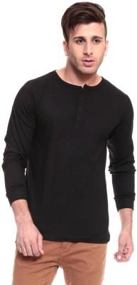 Ansh Fashion Wear Solid Men's Henley Dark Blue T-Shirt