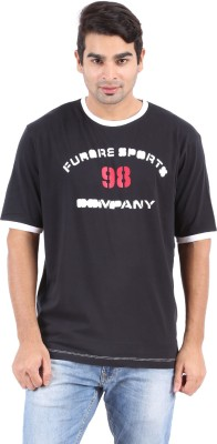 Furore Solid, Printed Men's Round Neck Black T-Shirt