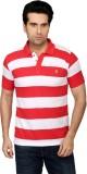 Got It Striped Men's Polo Neck Red, Whit...