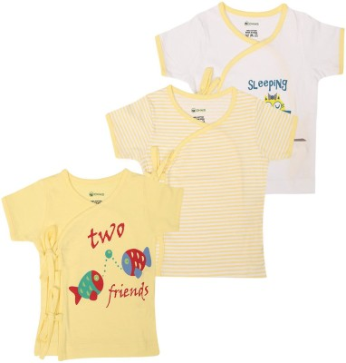 Ohms Printed, Striped Baby Boy's Fashion Neck T-Shirt