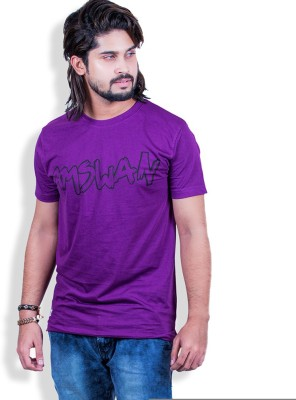 Mime Printed Men's Round Neck Purple T-Shirt