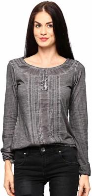 ESPRESSO Solid Women's Round Neck Brown T-Shirt