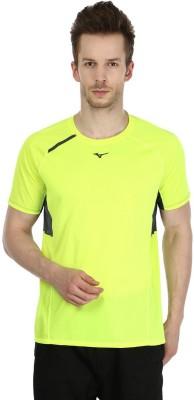Mizuno Solid Men's Round Neck Yellow T-Shirt