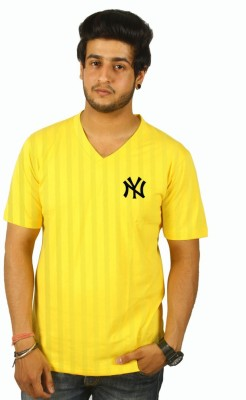 Cool Club Solid Men's V-neck Yellow T-Shirt