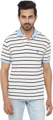 Ruse Striped Men's Polo Neck White, Light Blue T-Shirt