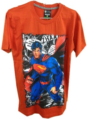 Rools Printed Men's Round Neck Orange T-Shirt