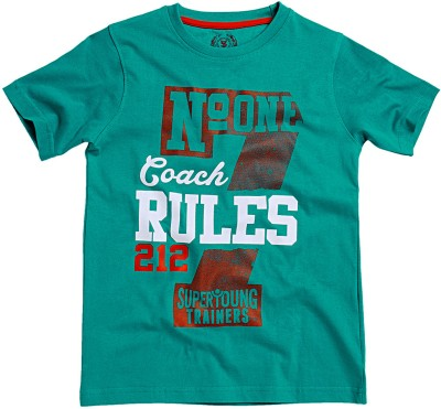 SuperYoung Printed Boy's Round Neck Green T-Shirt