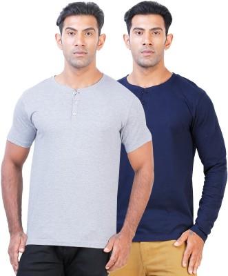 Click Hit Solid Men's Henley Grey, Blue T-Shirt