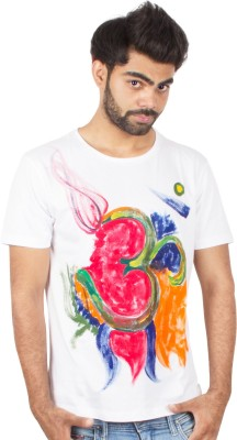 Pulpypapaya Printed Men's Round Neck White T-Shirt
