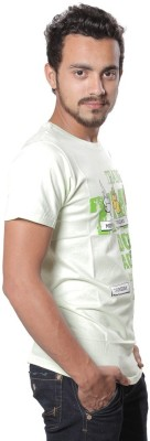 AR Printed Men,s Round Neck White T-Shirt