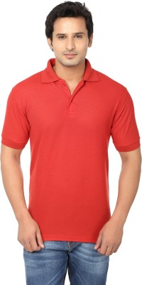 AWA Solid Men's Polo Neck Red T-Shirt