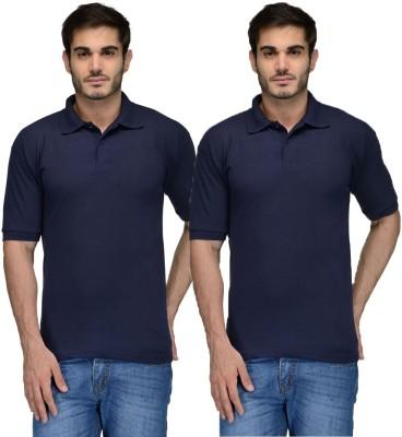 Feed Up Solid Men's Polo Neck Dark Blue, Dark Blue T-Shirt