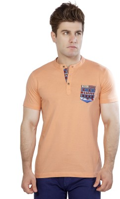 Maniac Geometric Print Men's Henley Orange T-Shirt