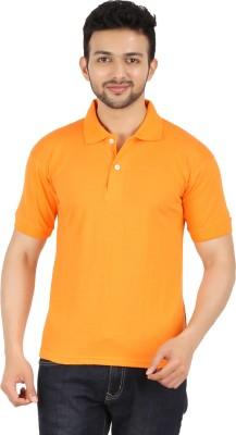 Garudaa Garments Solid Men's Polo Neck Orange T-Shirt