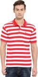 Duke Striped Men's Polo Neck Red T-Shirt