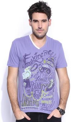 HRX Printed Men's V-neck Purple T-Shirt