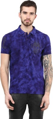 PUNK Printed Men,s Polo Neck Blue T-Shirt