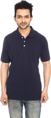 Avantaa Tees Solid Men's Polo Neck Blue T-Shirt