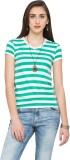 Alibi Striped Women's V-neck Green T-Shi...