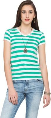 Alibi Striped Women's V-neck Green T-Shirt