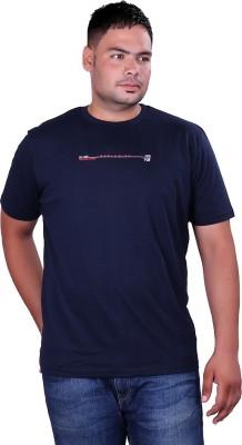 Vivid Bharti Printed Men's Round Neck Dark Blue T-Shirt