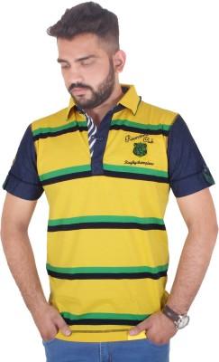 MjString Striped Men's Flap Collar Neck Yellow T-Shirt