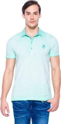Mufti Solid Men's Polo Neck Light Green T-Shirt