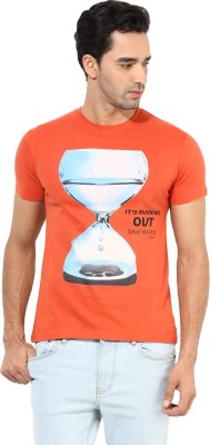 Okane Printed Men's Round Neck Orange T-Shirt