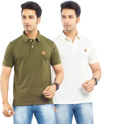 Passport Solid Men's Polo Neck Green, Silver T-Shirt