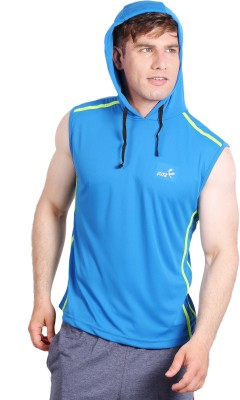 Fitz Solid Men's Hooded Blue T-Shirt