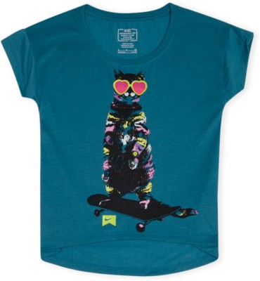 Nike Kids Printed Girl's Round Neck Blue T-Shirt