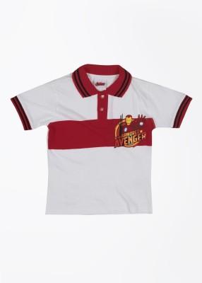 CHERISHKNITS Striped Boy's Polo White, Red T-Shirts