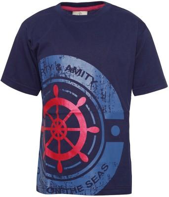 Joshua Tree Printed Boy's Round Neck Dark Blue T-Shirt