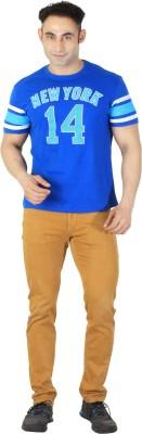 ISHWA Graphic Print Men's Round Neck Dark Blue T-Shirt