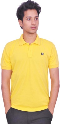 LEAF Solid Men's Polo Neck Yellow T-Shirt