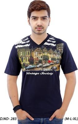RGT Printed Men's V-neck Black T-Shirt