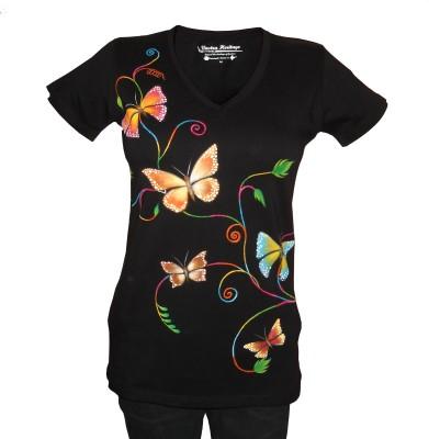Vastra Heritage Self Design Women's V-neck T-Shirt