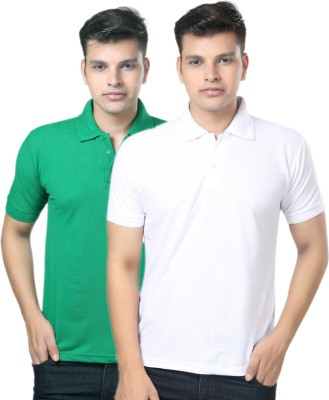eSOUL Solid Men's Polo Neck White, Green T-Shirt