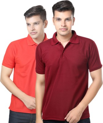 eSOUL Solid Men's Polo Neck Maroon, Red T-Shirt
